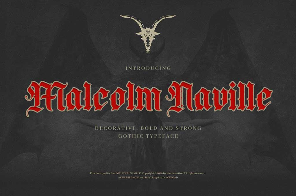 Malcolm Naville — Vintage Gothic Blackletter