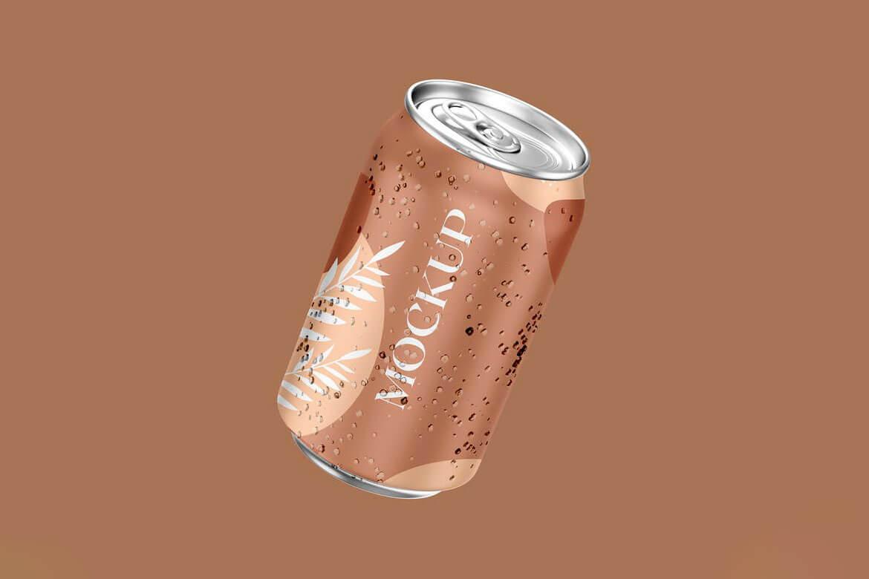 Realistic Floating Soda Can Mockup v1