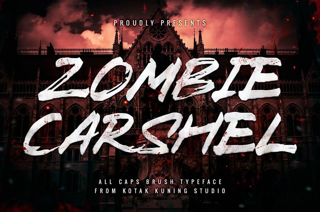 Zombie Carshel - Brush Textured Font