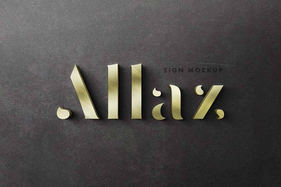 3D Signage Logo Mockup