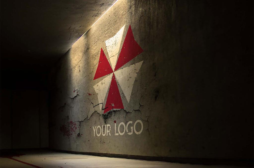 Free Realistic Logo on Wall Mockup