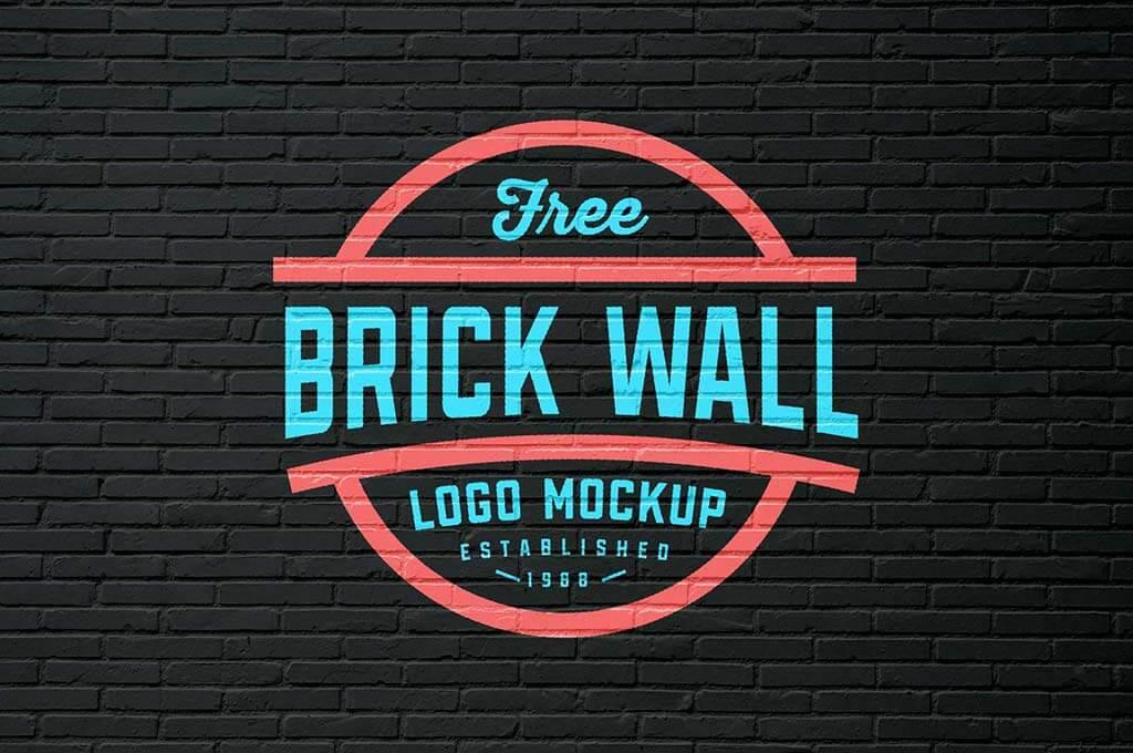 Free White & Black Brick Wall Logo Mockup PSD