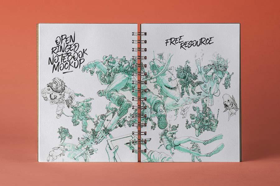 Open PSD Ringed Sketchbook Mockup