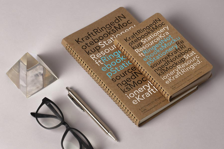 PSD Kraft Ringed Notebooks Mockup