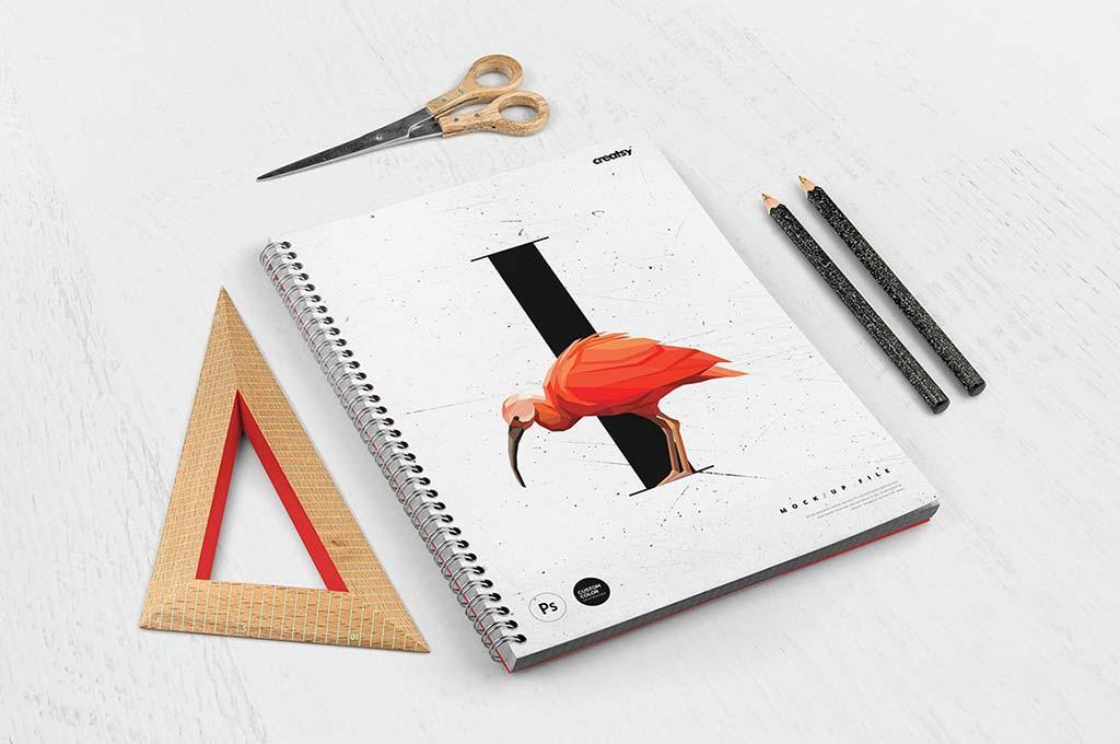 Spiral Notebook 3 Mockup Set