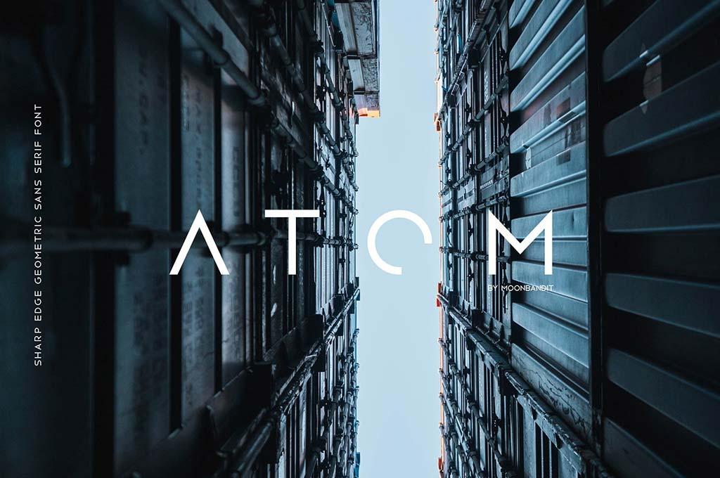 Atom — Sharp Edge Future Sci-fi font