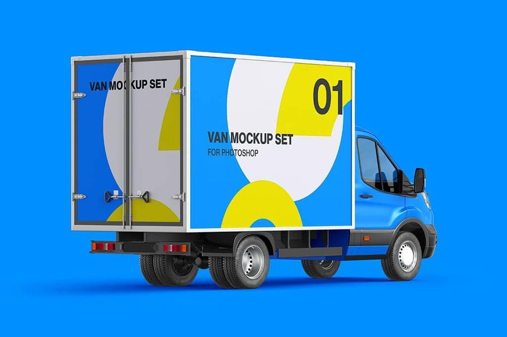 Cube Van Mockup 03 - Back Side View