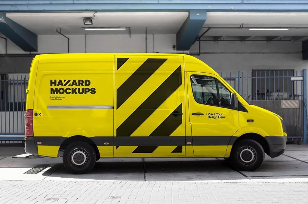 Realistic Bus Truck Wrap Mockup