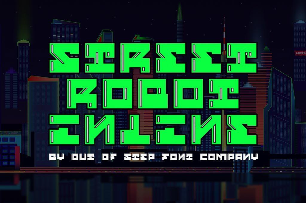 Street Robot Inline Font